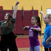 JIM VAIKNORAS/Staff photo Jaclyn Zink,  Rheya Pierce, and  Jillian Colin do I cheer at practice at the Nock Middle school in Newburyport.