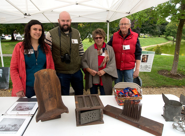 JIM VAIKNORAS/Staff photo Emily Lawrence, Dan Fionte, Emily Hoffman, and Alex Burke of the Newbury Historic Society at Bartlet Mall Day.
