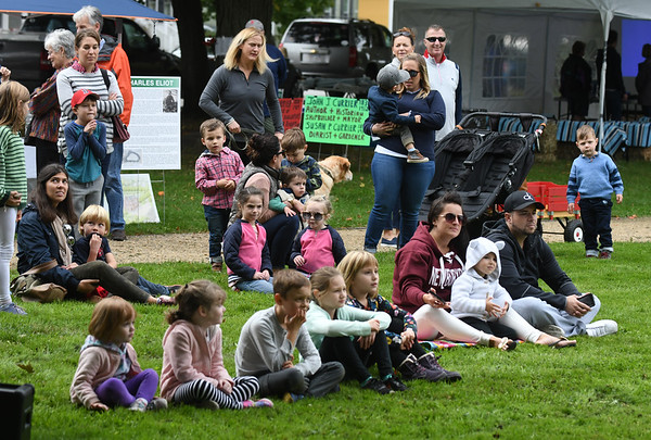 JIM VAIKNORAS/Staff photo Kids and grown-up enjoy a puppet show performed by Theater in the Open at Bartlet Mall Day.