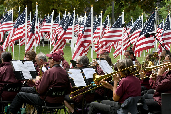 JIM VAIKNORAS/Staff photo The Merrimack Valley Concert Band performs at the Field of Honor during the Sept 11th remembrance ceremony at the Bartlet Mall in Newbburyport.