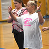 JIM VAIKNORAS/Staff photo Jillian Zinck and, Taryn Lebreck during practice at the Nock Middle School.