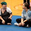 JIM VAIKNORAS/Staff photo Ashley Berhannum and, Maddie Marshall talk as they take a break during practice at the Nock Middle School.
