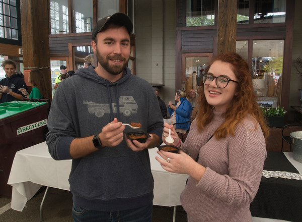 JIM VIKNORAS/Staff photo JMatt Walsh of West Newbury and Brittany Gallant of Byfield sample the chili at The Grog's 11th Annual Chili Cook-Off & Craft Beer Fest at the tannery in Newburyport.