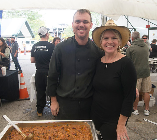 JIM VIKNORAS/Staff photo Jay Racki and Tonya Lucas of Loretta's at The Grog's 11th Annual Chili Cook-Off & Craft Beer Fest at the tannery in Newburyport.