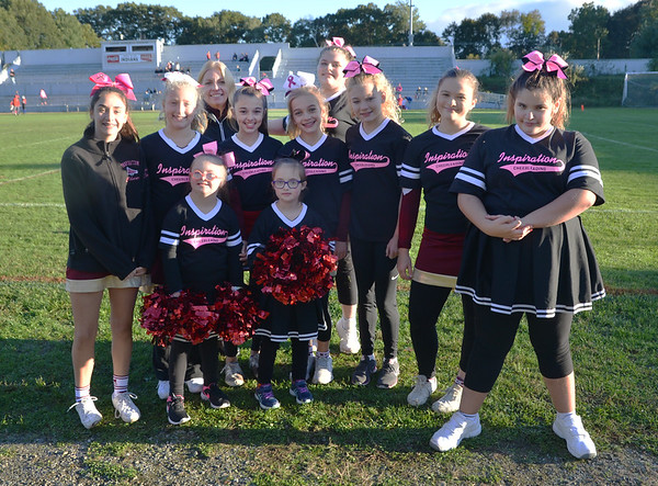 JIM VAIKNORAS/Staff photo The Inspirational Cheering Team at a Newbruyport Youth Football game at Landry Stadium in Amesbury.