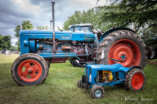 A long 1957 Fordson Major and a small 1959 Trojan mini tractor