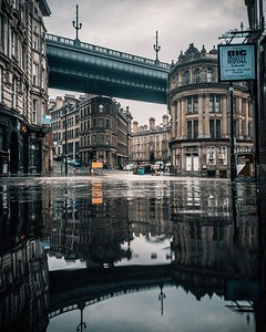 Big Mussel Tyne Bridge Reflection Rain