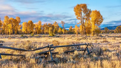 Autumn morning and rustic buck and rail fence in Jackson Hole.