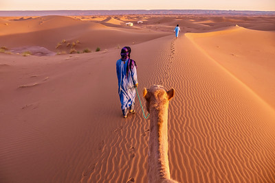 Two nomadic men dressed in traditional clothing lead a camel through sand dunes toward a tented camp in the Sahara Desert, Morocco.