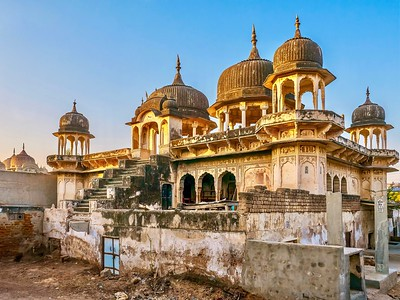 The faded beauty of an old, abandoned Indian haveli, now in derelict condition, though its ornate architecture and hand painted art is still visible.