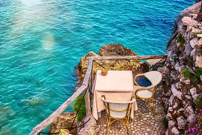 A table for two beside the sea.