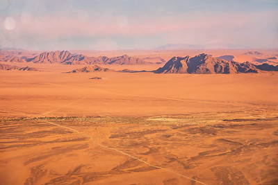 Sweeping aerial view of the Namib Desert. Look at those roads in the middle of nowhere!