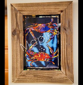 """Graphic framed by me.  """"Fighting Crabs""""."""