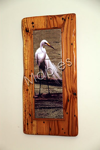 Original photo of egret on produced on sublimation tile framed by Maples.