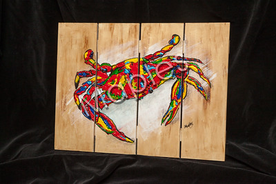 Sometimes it's fun to paint on slats.  This crab was indeed fun.