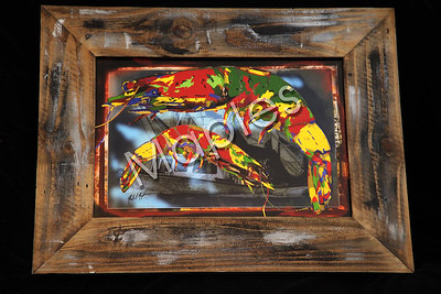 A reclaimed frame my by Maples, the art is a graphic art piece produced by Maples.