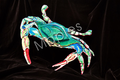 This one was new for me.  I did a cutout of a drawing I had done.  Then painted it.  Note the eyes of the crab.  I had to use those.  They came off a grift my godchild Julia had given me one Christmas.