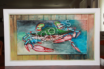 I love this painting.  I starting experimenting more with my framing.  The crab is one of my typical painting.  I'm now starting to paint my crabs using more imagination.  I take photos of all of my subjects, in this case a crab, and then do the painting.  I work best from photos.
