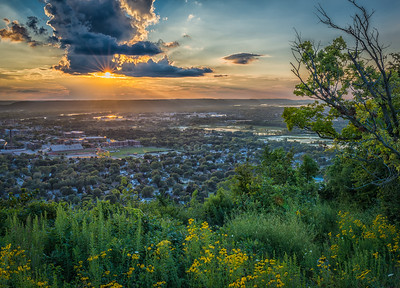 Sunset  over LaCrosse from Grand Dad Bluff.