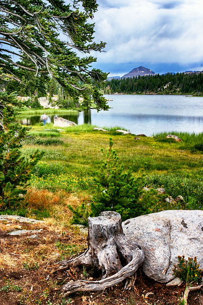 Scene with a fisherman along the Beartooth Highway – a National Scenic Byways All-American Road (US 212) between Red Lodge, Montana and Cooke City, Montana just northeast of Yellowstone National Park and north Cody, Wyoming.