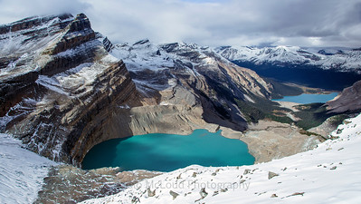 Looking Down to Bow Lake and Beyond