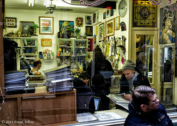 Tatoo parlor activity, Amsterdam, Netherlands