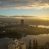 Lake Merritt, Downtown Oakland, and Foggy Sunrise