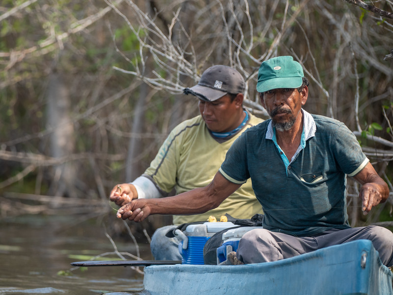 Mayan Men Hand--Line Fishing