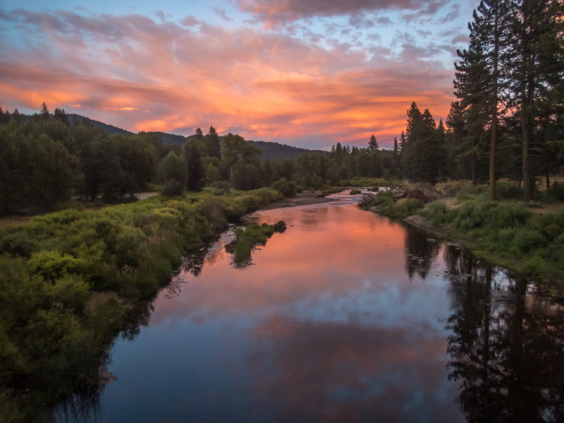 Colorful Sunset and Reflection, Middle Fork Feather River