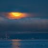 Bay Bridge and Setting Full Moon Shrouded by Fog