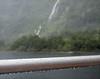 Waterfalls, Falling Rain, and Wet Boat Rail, Doubtful Sound NZ