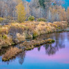 Pink Sunset Reflection and Autumn Hues, Middle Fork Feather River