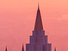 Mormon Temple and Sky Colored by Wildfire Haze