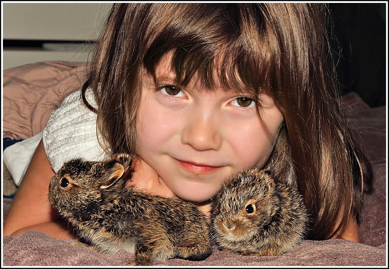 My granddaughter with the two Jackrabbit babies we acquired, thanks to our dog, Elsa.