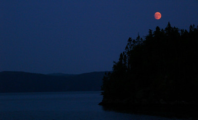 Red moon over Hodges Cove, Newfoundland