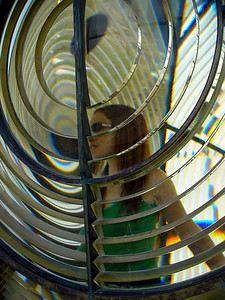 Keli inside the Cape Race Lighthouse, Newfoundland
