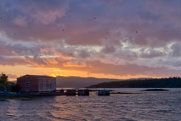 Sunset over Squid Tickle Island, Burnside, Newfoundland.