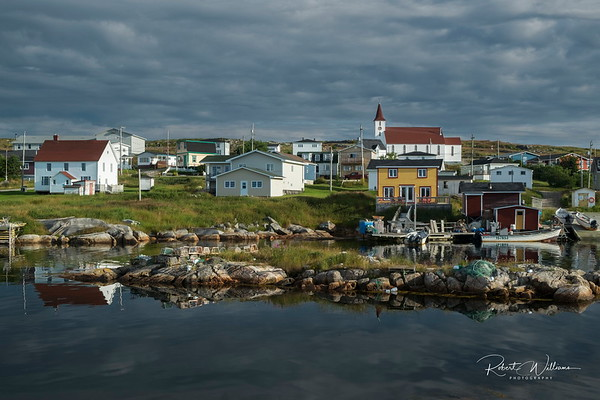 Greenspond houses across from Ship Island