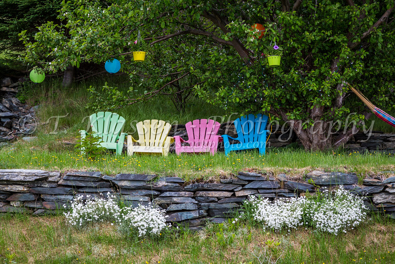 A garden with colorful adirondack chairs near Bay Roberts, Newfoundland and Labrador, Canada.
