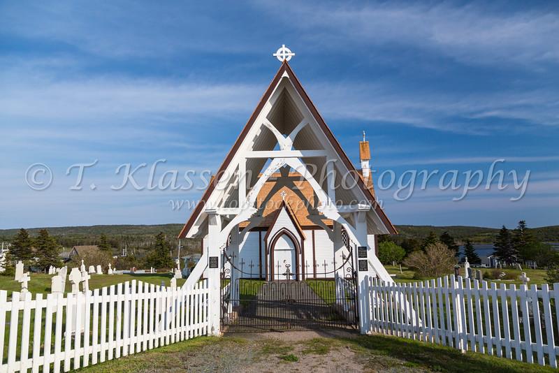 The cemetery and chapel in Bonavista, Newfoundland and Labrador, Canada.