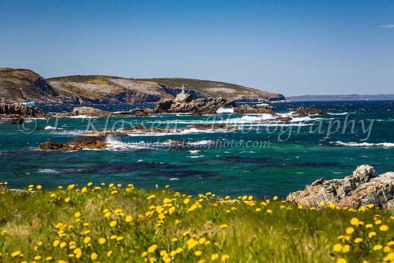 Rocks and coastal waters at Bonavista, Newfoundland and Labrador, Canada.