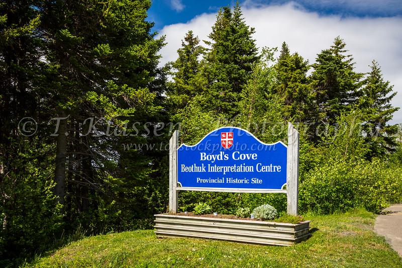 The Beothuk Interpretation Center sign near Boyd's Cove, Newfoundland and Labrador, Canada.