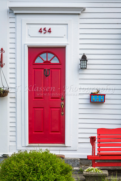 A colorful doorway at Cupids, Newfoundland and Labrador, Canada.