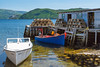 A fishing wharf with lobster traps at  Curzon Village, Newfoundland and Labrador, Canada.