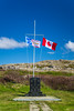 The Canadian and Newfoundland flags nearJoe Batt's Arm-Barr'd Islands-Shoal Bay, Newfoundland and Labrador, Canada.