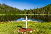 A roadside cross in Gros Morne National Park, Newfoundland and Labrador, Canada.