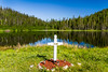 A roadside cross in Gros Morne National Park, Newfoundland and Labrador, Canada.