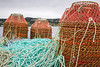Closeup of stacks of crab pots on the dock at Harbour Grace, Newfoundland and Labrador, Canada.