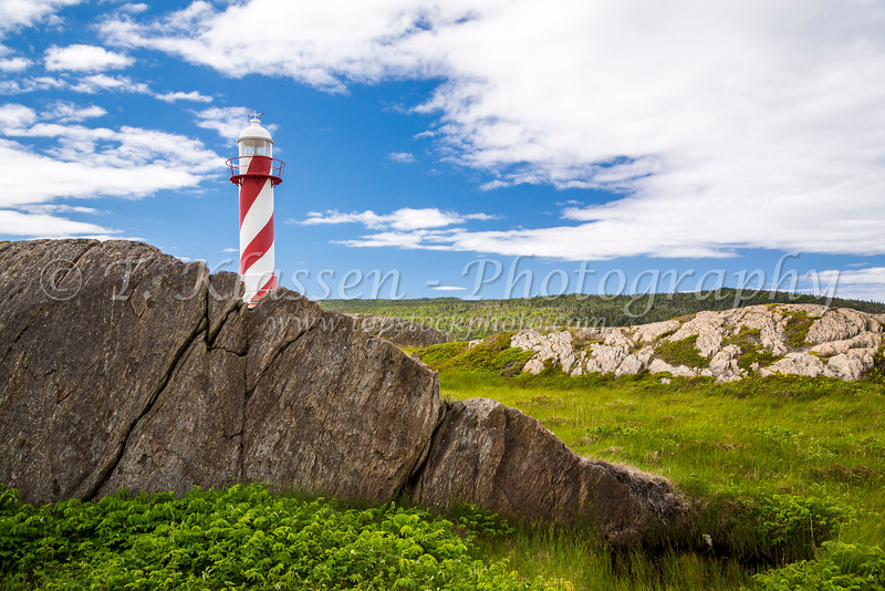 The Heart's Content Lighthouse on Trinity Bay, Newfoundland and Labrador, Canada.