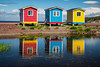 Colorful fishing stages in Cavendish, Newfoundland and Labrador, Canada.